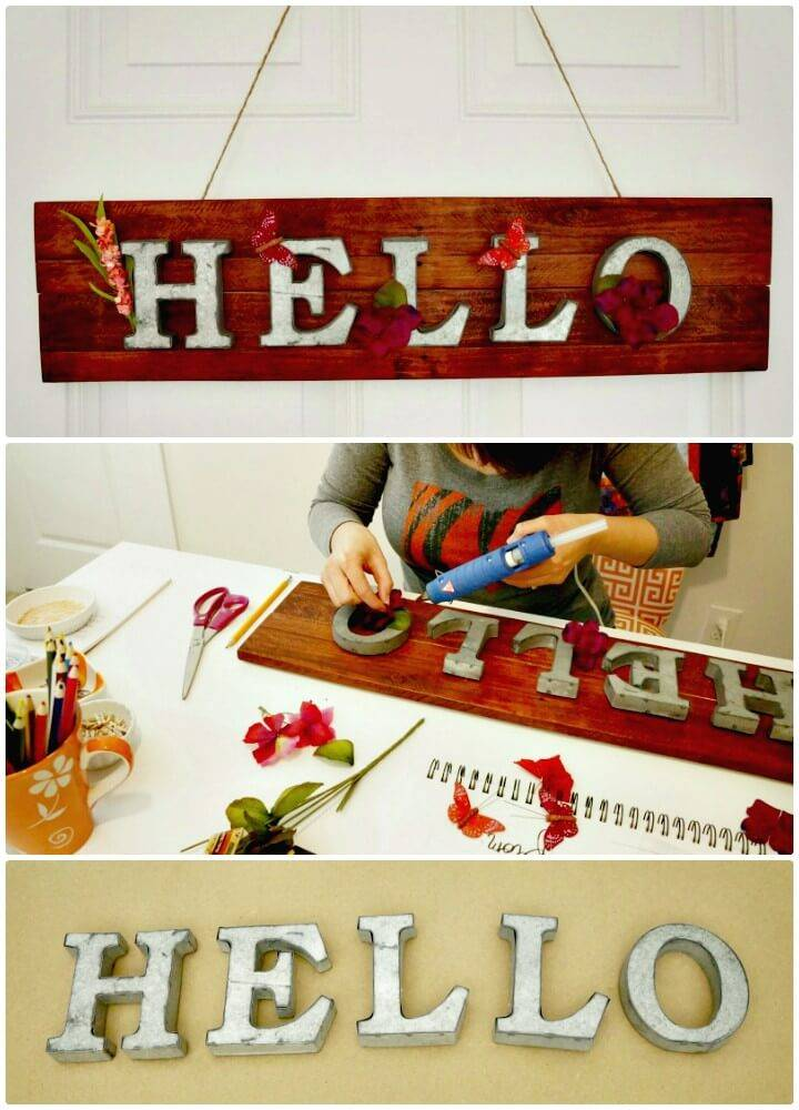 "DIY ""Hello"" Springtime Metal and Pallet Wood Sign - Spring Sign Idea"