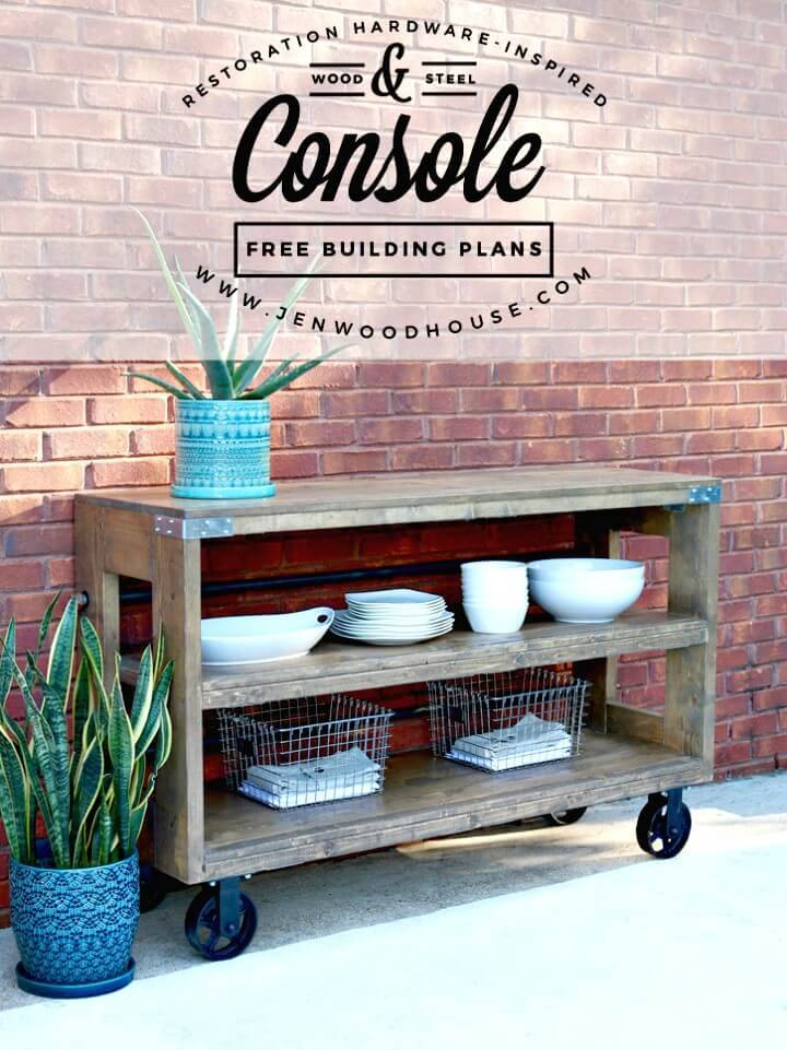 DIY Industrial Wood & Steel Console - Garden Furniture Ideas