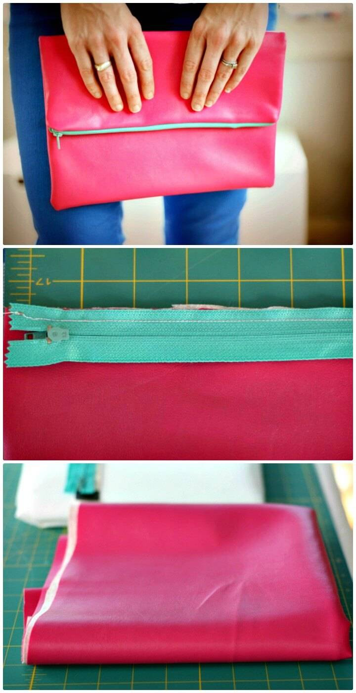 DIY Leather Fold Over Clutch