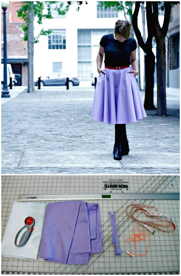 DIY Midi Circle Skirt With Pockets