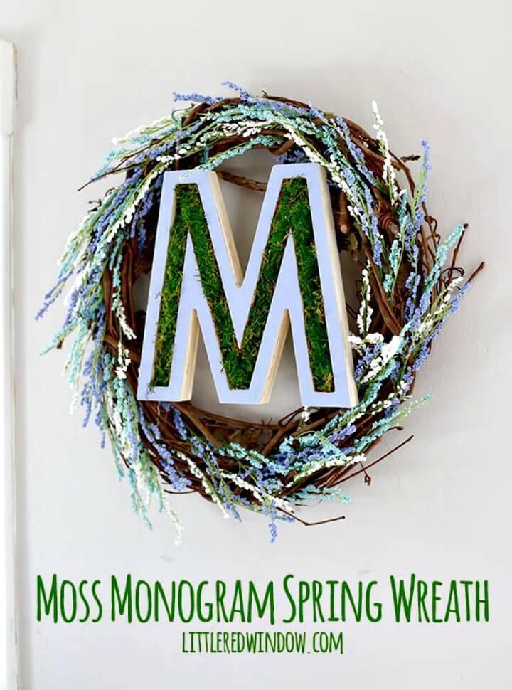 DIY Moss Monogram Spring Wreath