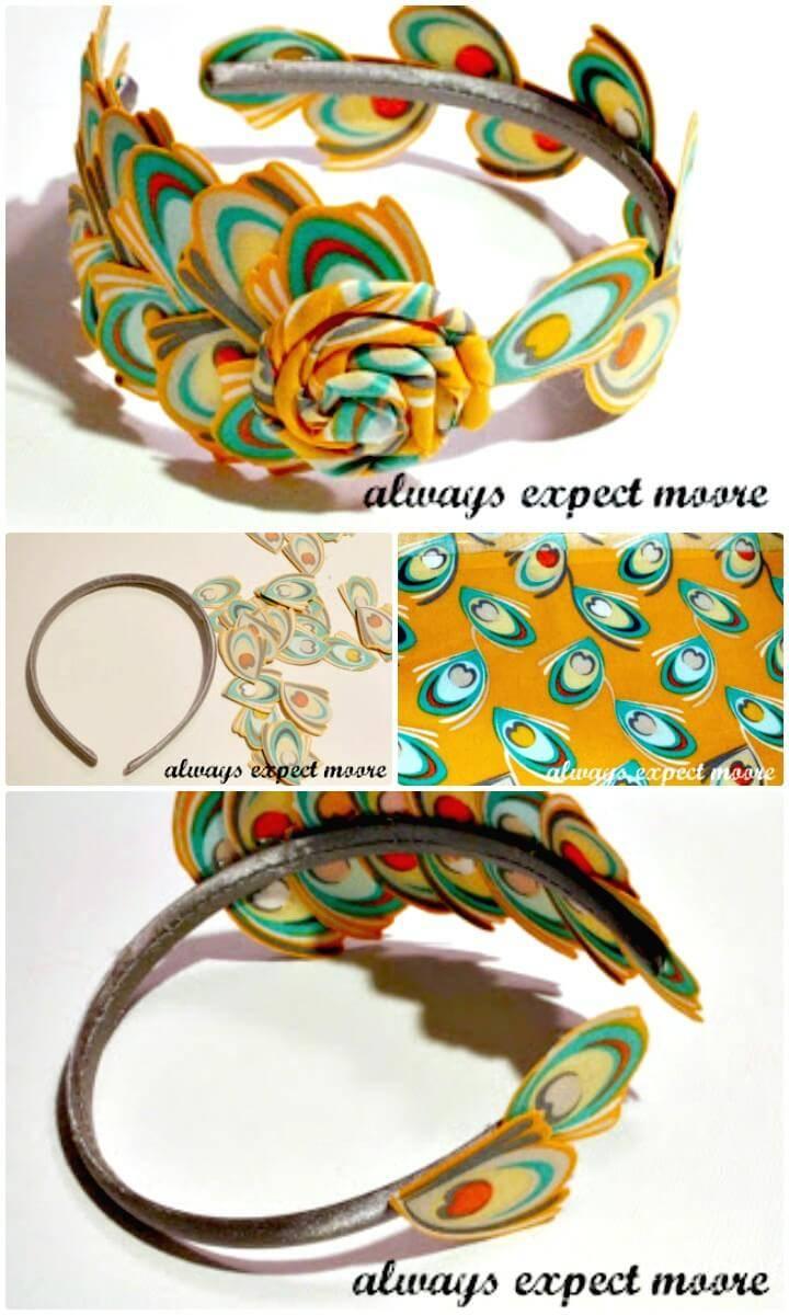 Beautiful DIY No-Sew Headband with Fabric Feathers Headband