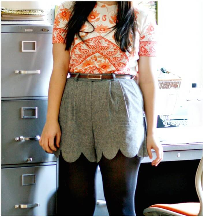 DIY No-Sew Scalloped Shorts