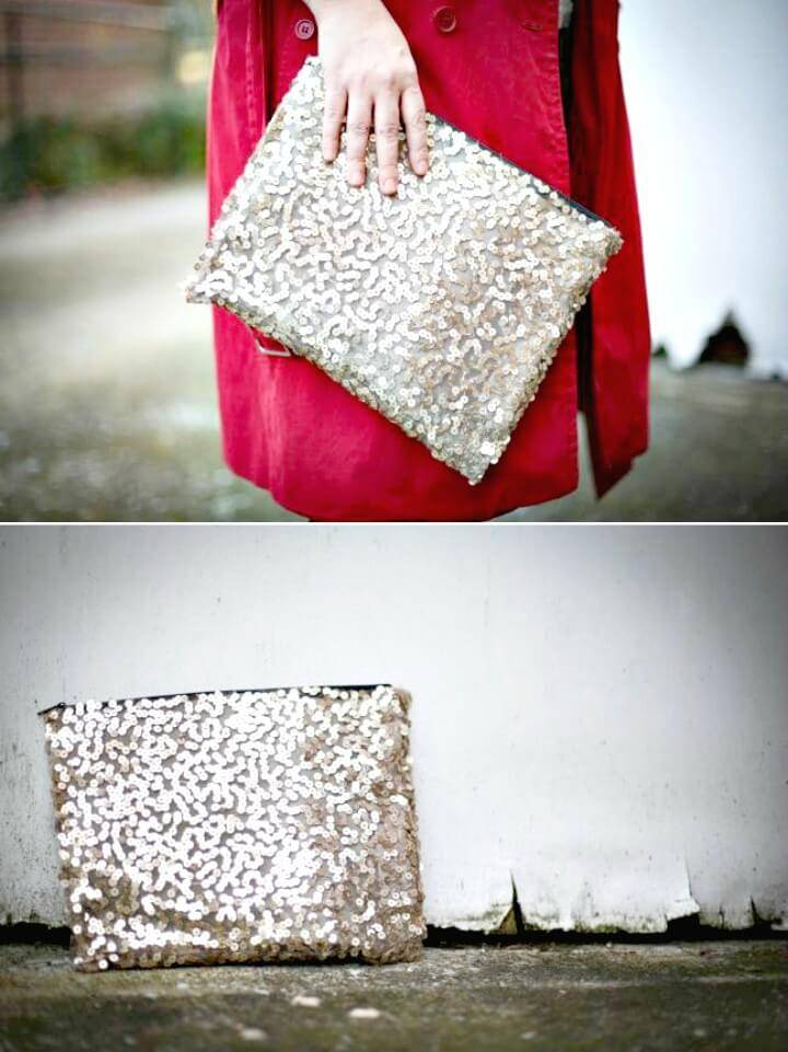 DIY No Sew Sequin Clutch for $1