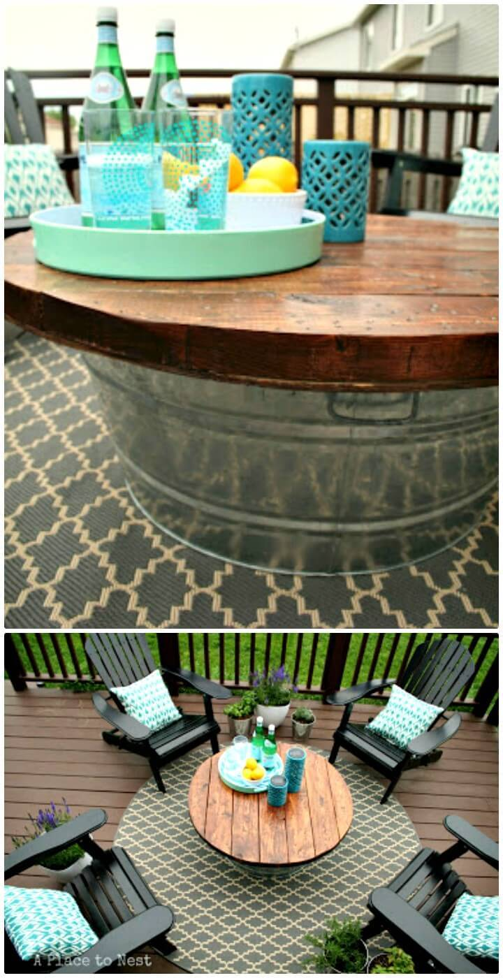 DIY Outdoor Coffee Table With Metal Bucket Base