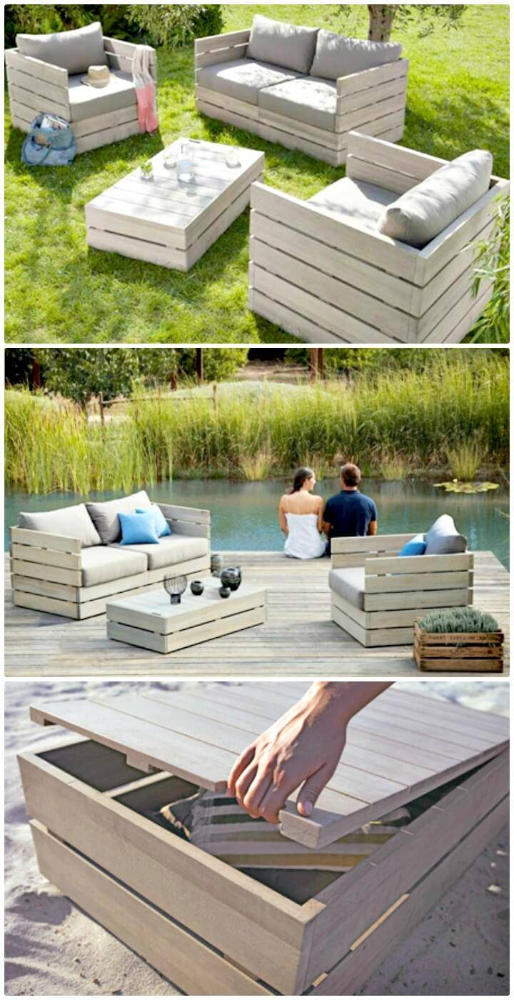 Adorable DIY Outdoor Garden Storage Bench