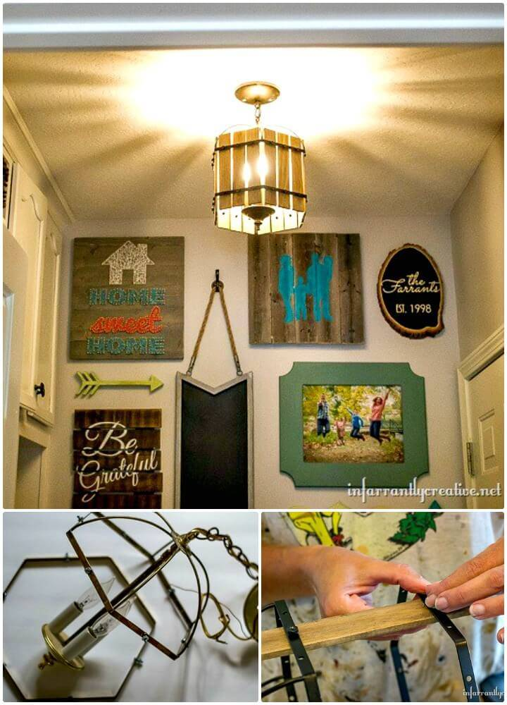 Cute DIY Paint Stick Chandelier - Indoor Lighting Ideas