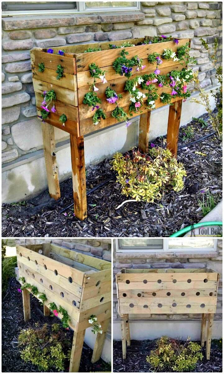 DIY Pallet Planter Box For Cascading Flowers