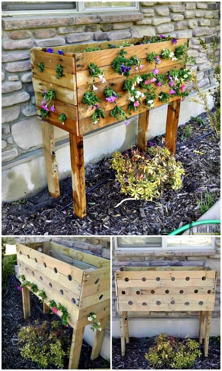 DIY Pallet Planter Box For Cascading Flowers
