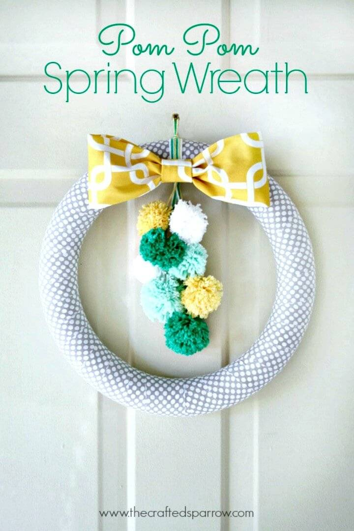 How to Make a Pom Pom Spring Wreath Step By Step Tutorial