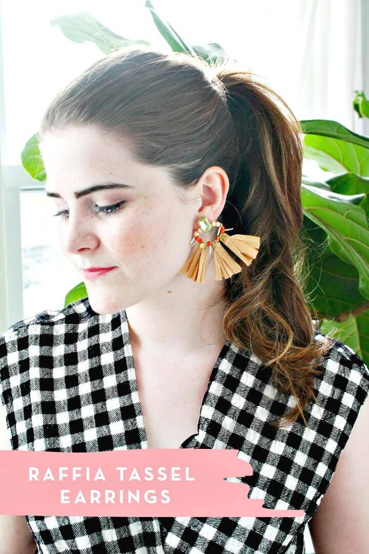 DIY Raffia Tassel Earrings