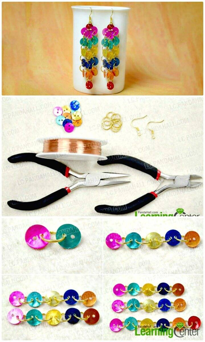DIY Rainbow Dangle Button Earrings