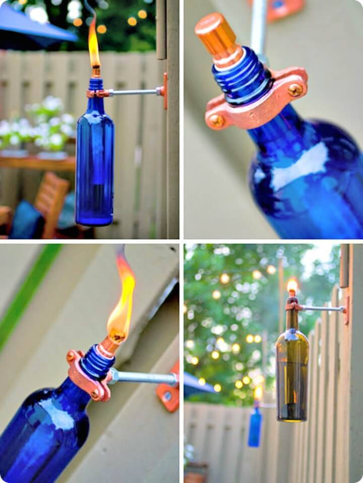 DIY Recycled Wine Bottle Backyard Torch