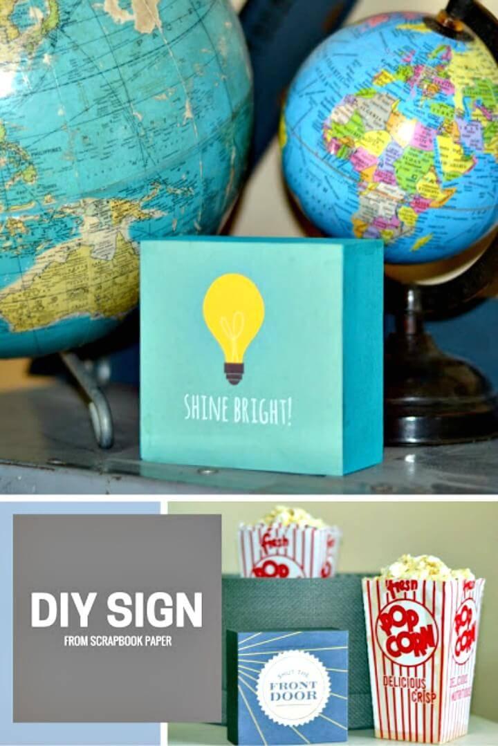 DIY Scrapbook Paper Signs
