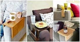 DIY Sofa Arm Table - DIY Sofa Snack Table - DIY Table Ideas - DIY Projects - DIY Crafts - DIY Ideas