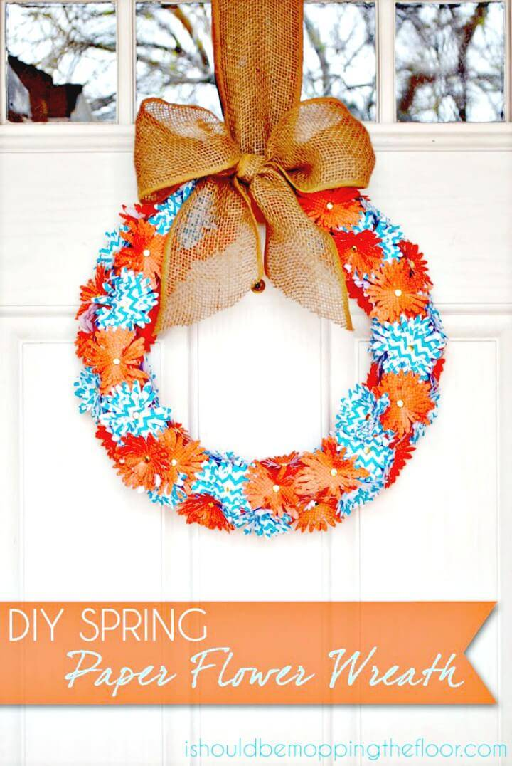 Beautiful DIY Spring Paper Flower Wreath Tutorial
