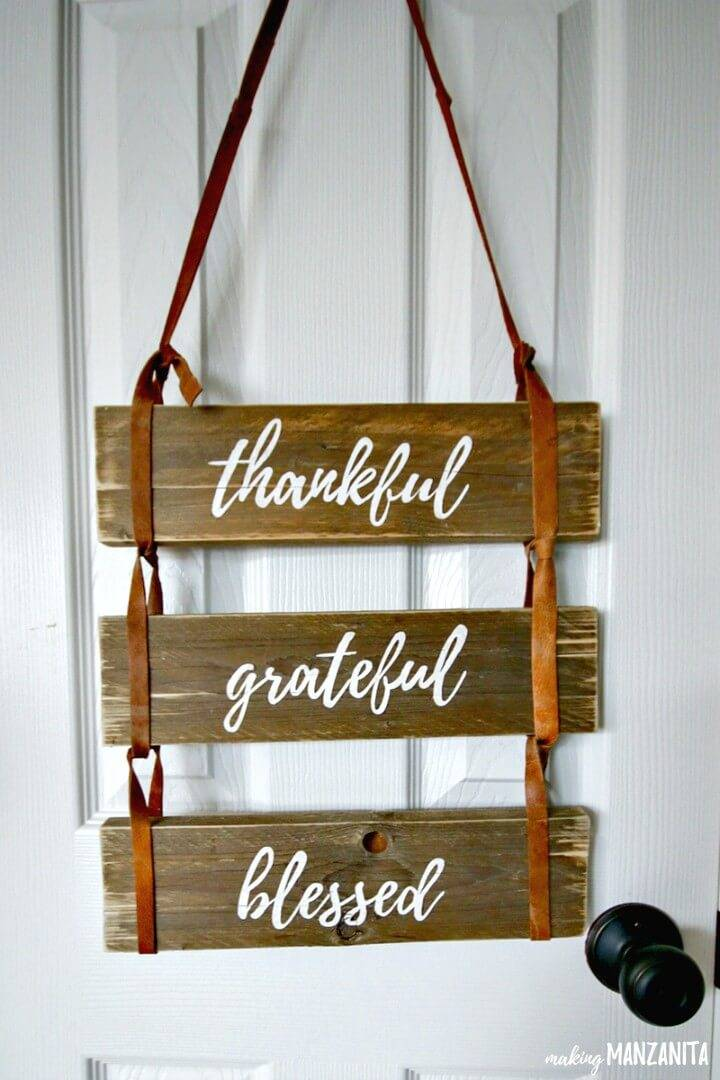 DIY Thankful Grateful Blessed Pallet Wood Sign with Leather Straps