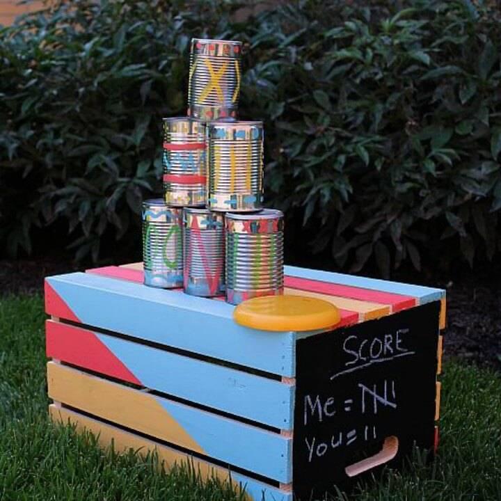 DIY Tin Can Toss Backyard Game