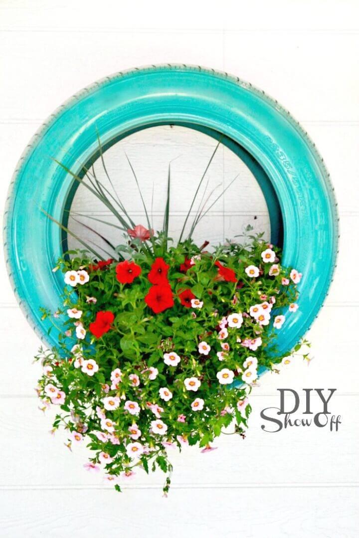 DIY Tire Flower Backyard Planter Project - Backyard Ideas