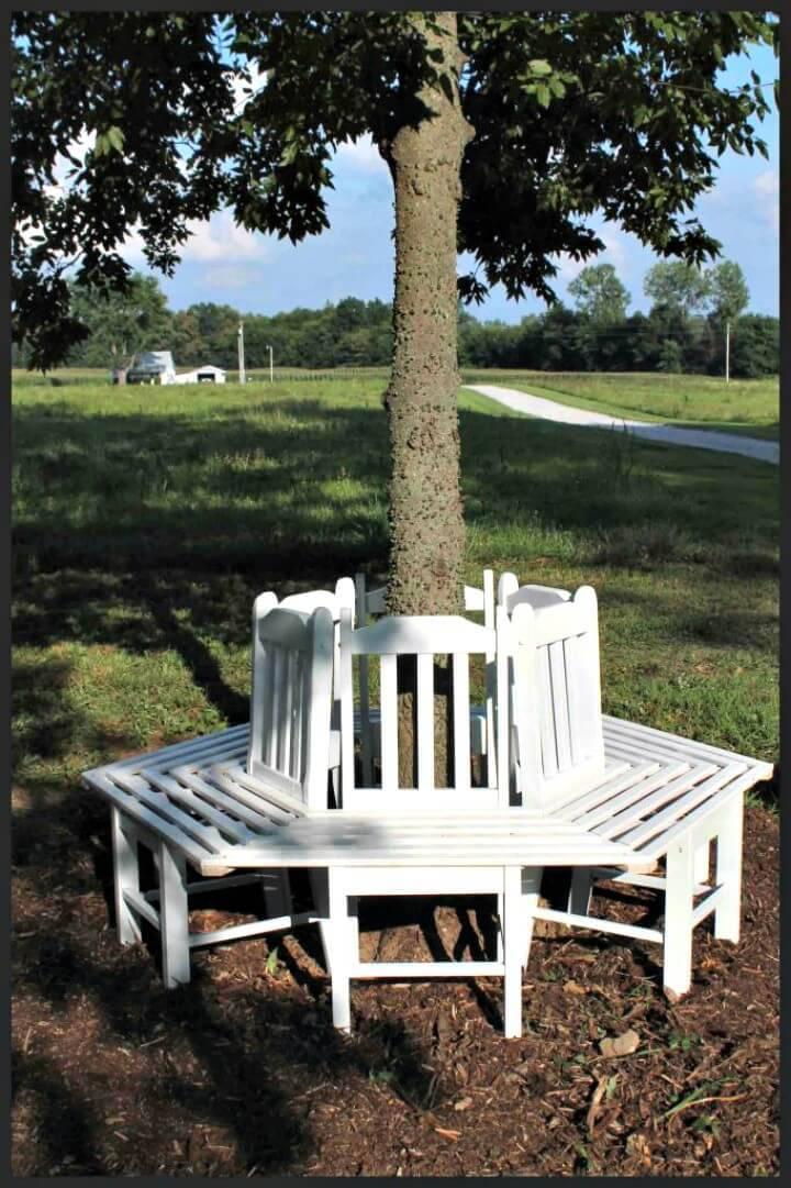 DIY Tree Bench From Kitchen Chairs - Garden Furniture Ideas