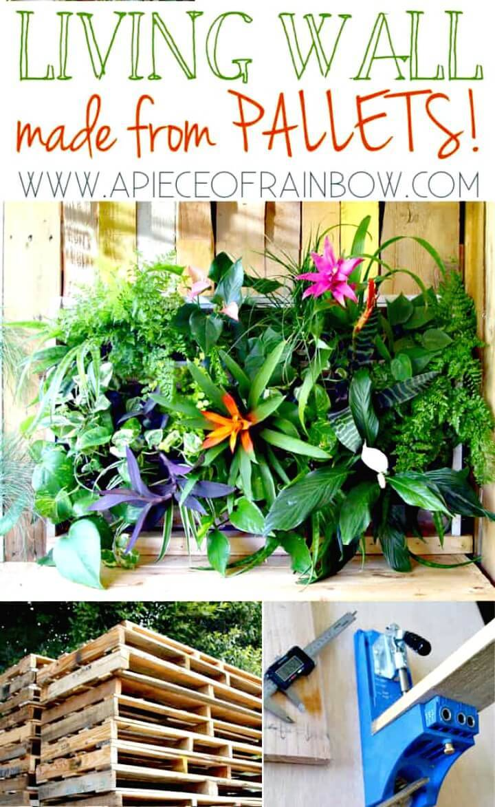 DIY Tropical Pallet Living Wall - Pallet Garden Projects