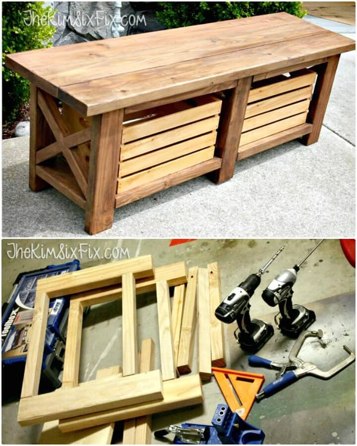 DIY X-Leg Wooden Bench with Crate Storage for Under $40 - Backyard Ideas