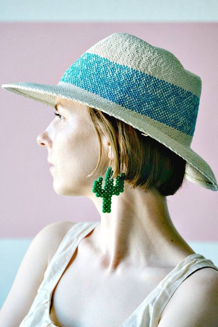 DIY Cactus Earrings From Fuse Beads