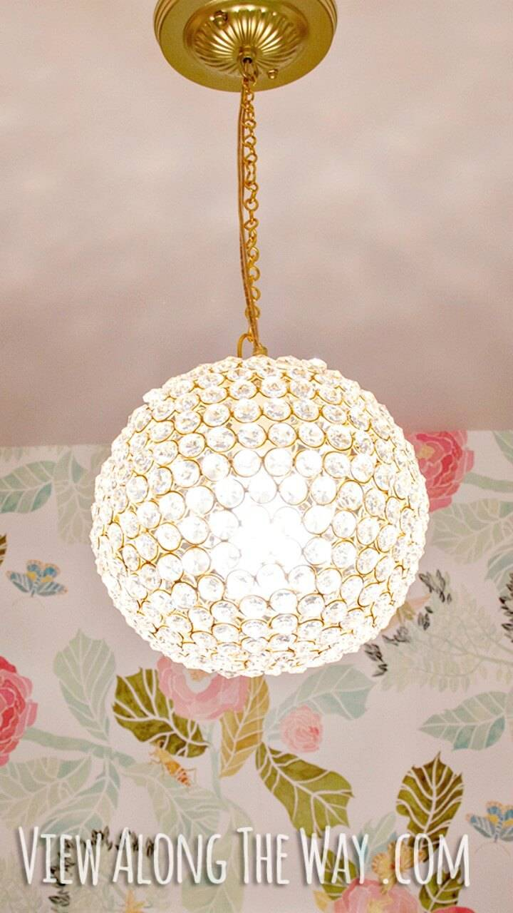 DIY Crystal Ball Chandelier - Homemade Lighting Ideas
