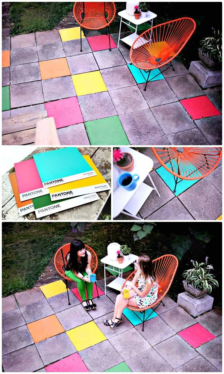 DIY Elsie's Painted Patio Tiles for Backyard