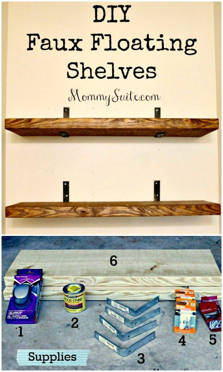 Easy DIY Faux Floating Wooden Shelves