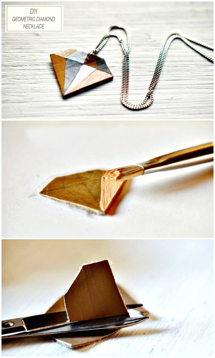 DIY Geometric Diamond Necklace - Homemade Jewelry