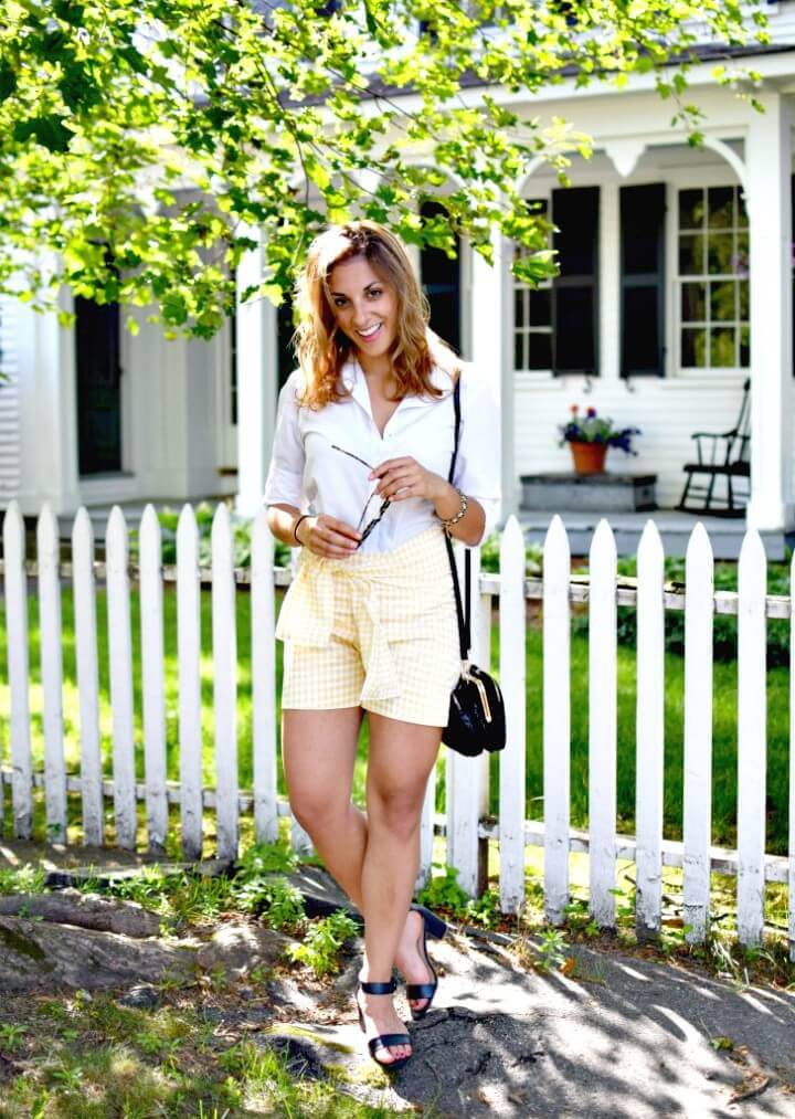 Easy DIY Gingham Sash Shorts