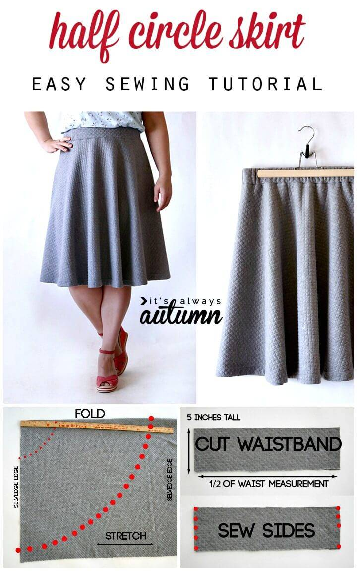 DIY Half Circle Skirt Sewing Tutorial