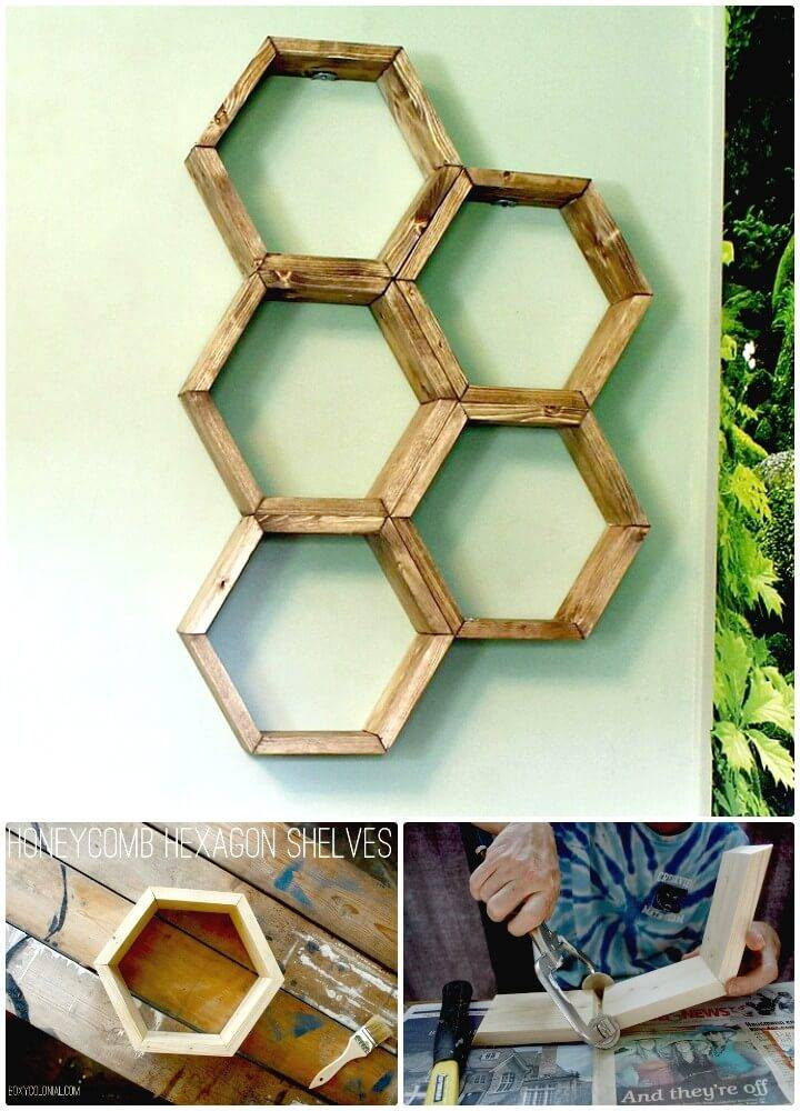 Easy DIY Honeycomb Hexagon Shelves