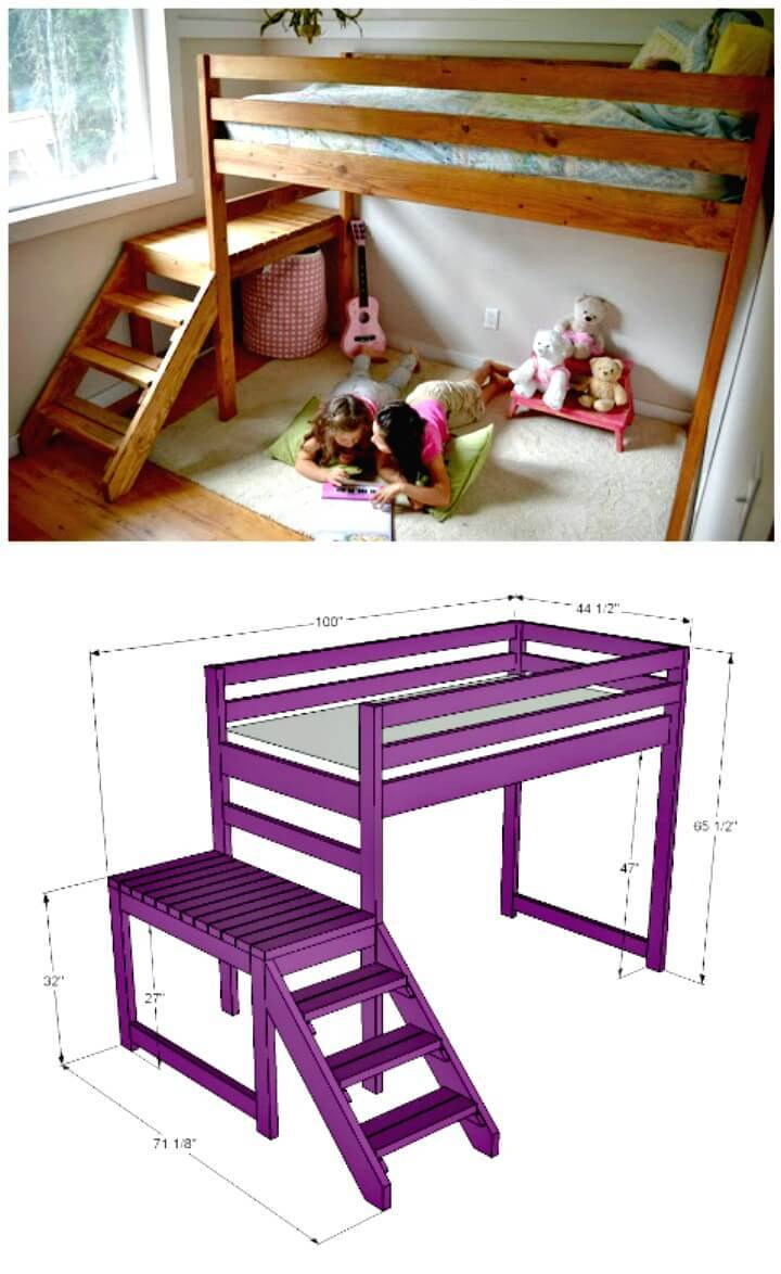 Easy DIY Kids Loft Bunk Bed