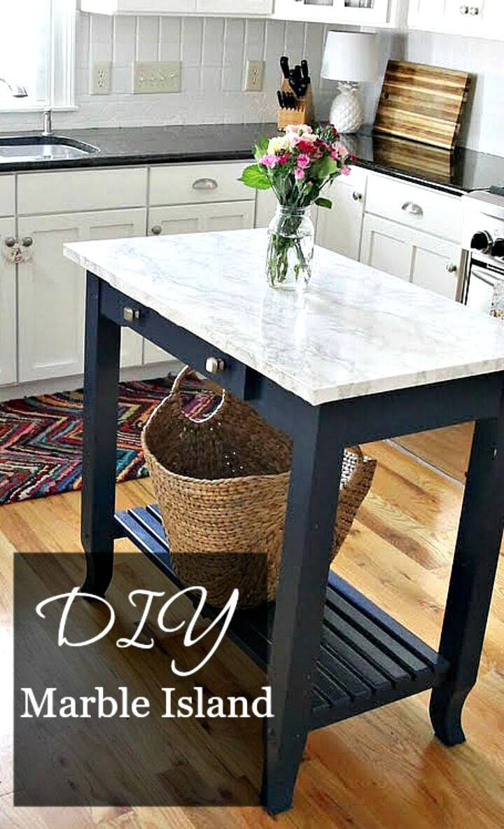 Easy How to DIY Marble Top Kitchen Island