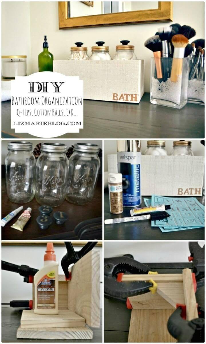 Easy DIY Mason Jar Bath Storage & 50 Unique DIY Bathroom Storage Ideas You Must Try - DIY u0026 Crafts