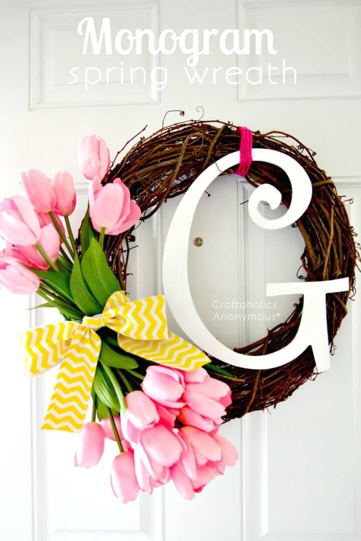 Easy DIY Monogram Spring Wreath