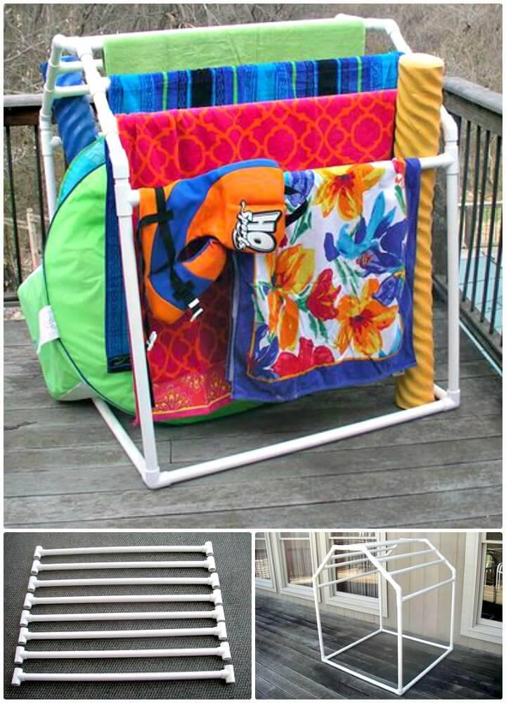 Easy DIY PVC Pool Towel Rack