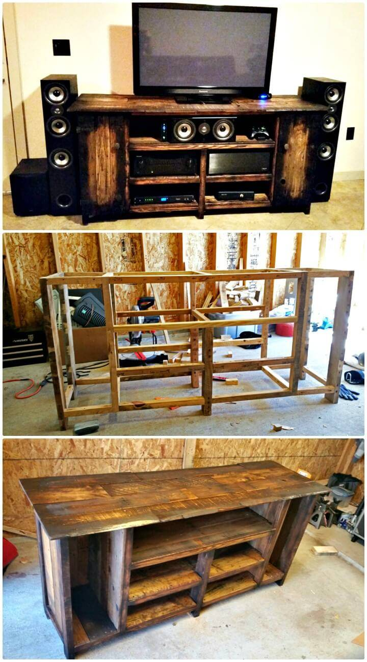 DIY Pallet Wood Entertainment Center