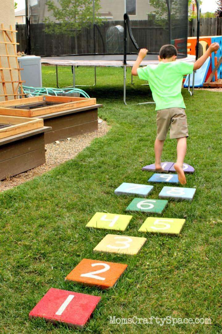 Easy DIY Rainbow Paver Hopscotch for Summer & Spring