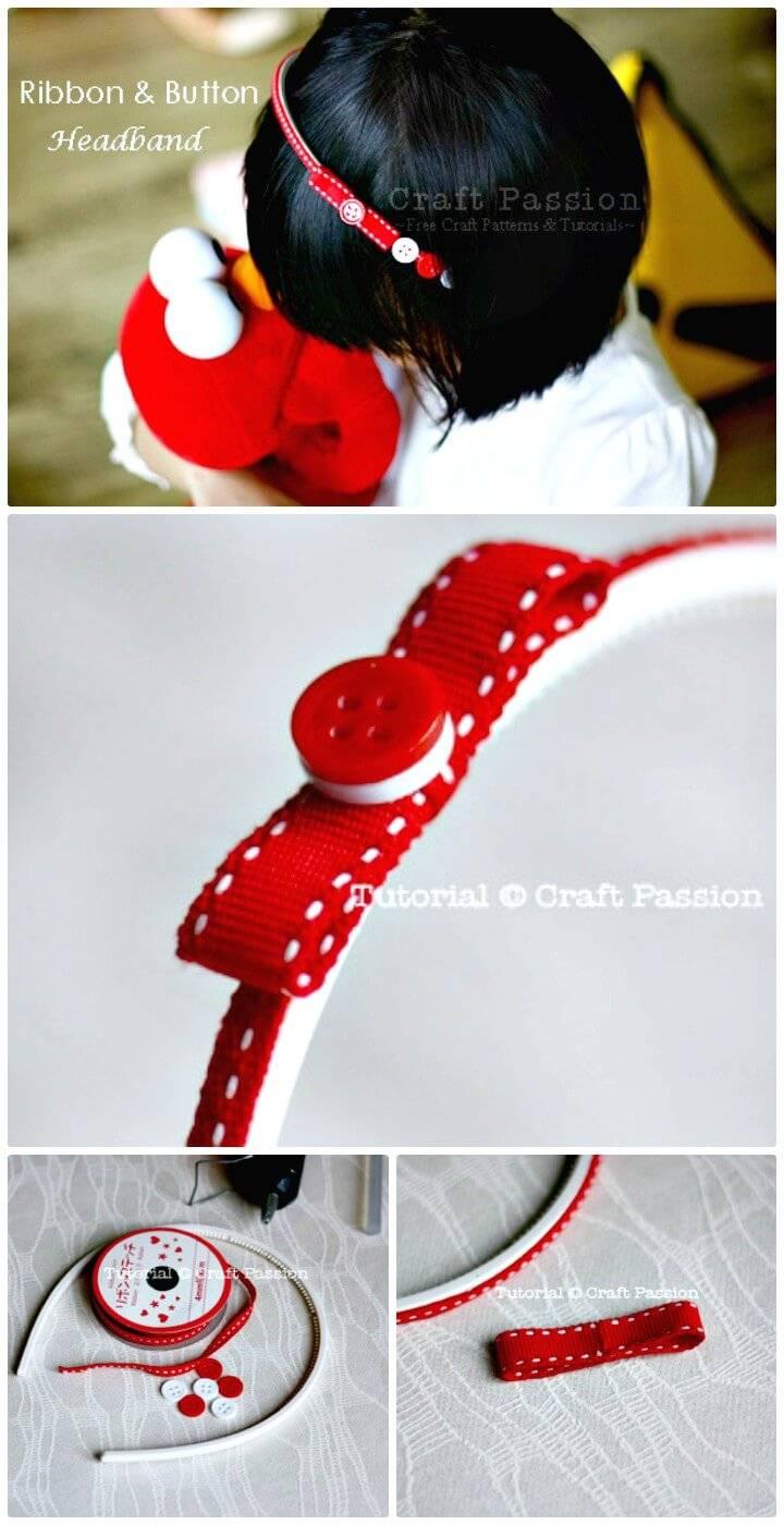 Easy DIY Ribbon Button Headband