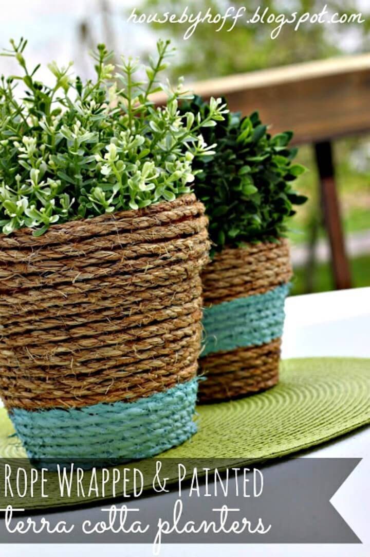 Easy DIY Rope-Wrapped Pots Tutorial