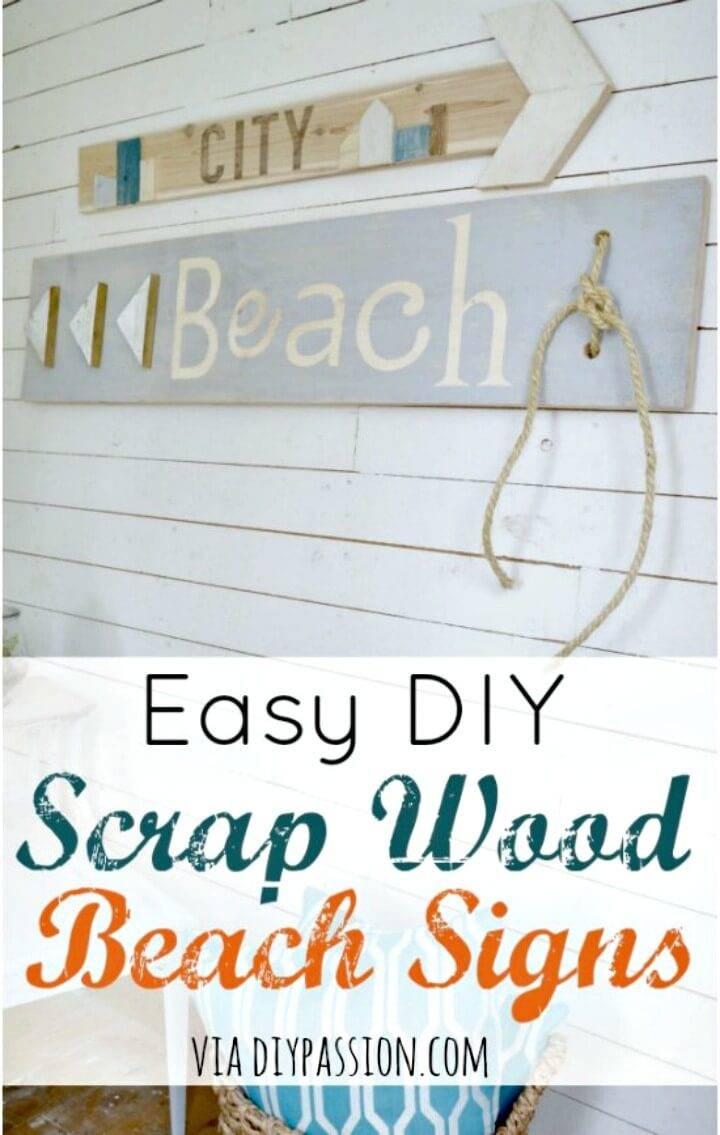 Easy DIY Scrap Wood Beach Sign for Summer