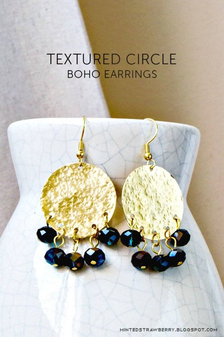 Easy DIY Textured Circle Boho Earrings