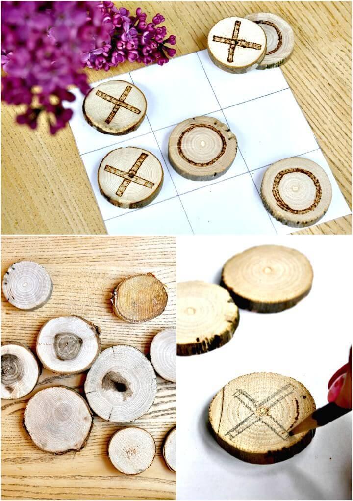 DIY Wood Burned Tic Tac Toe for Summer & Spring