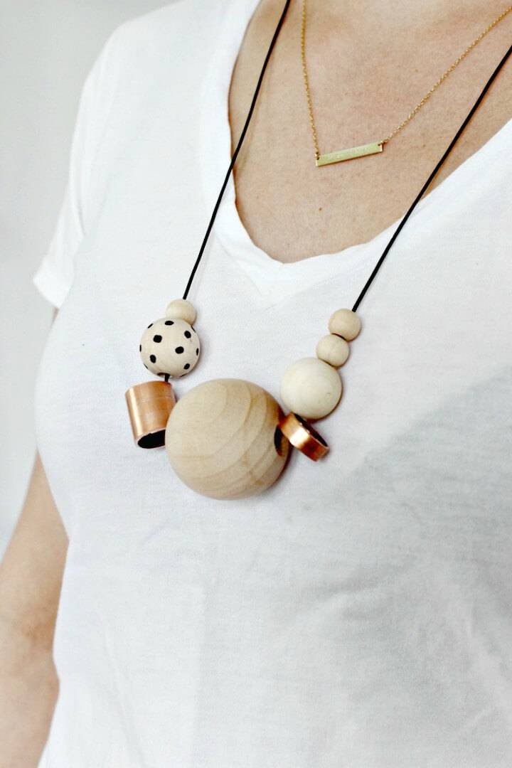 Easy DIY Wood + Copper Necklace