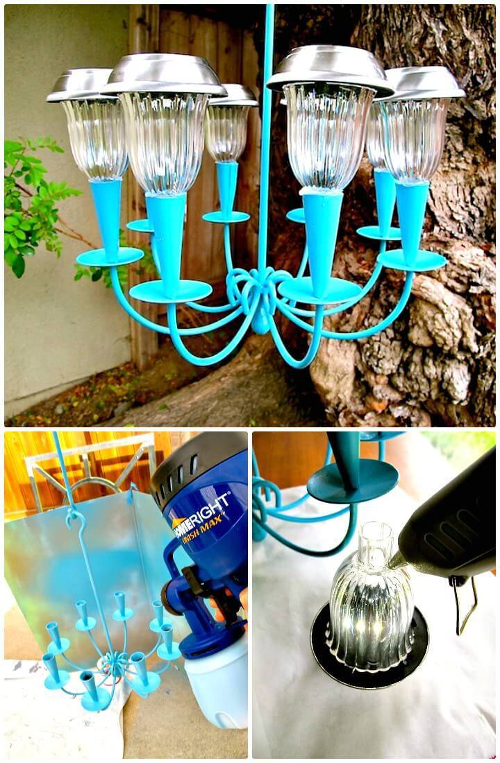 How To Make a Solar Light Chandelier - DIY Indoor Lighting Ideas
