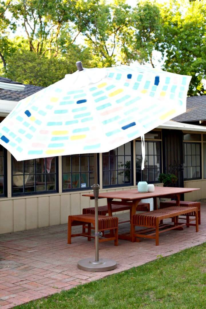 How To Make Painted Pattern Patio Umbrella - DIY