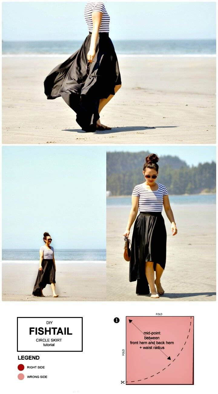 How To Sew Fishtail Circle Skirt - DIY
